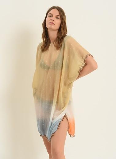 Morhipo Beach Kadın Renk Bloklu Kimono MBKSS21KI0006 Bej